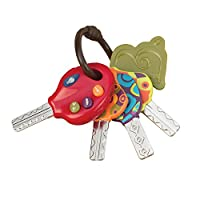 B. toys BX1941Z LucKeys 4 Textured Toy Keys for Babies and Toddlers - Flashlight and Car Sounds - 100% Non-Toxic and BPA-Free, Nylon/A