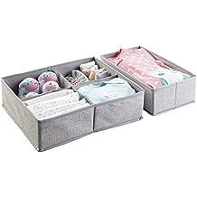 mDesign organizzatore armadio di stoffa – compatto armadietto pensile – set da 2 - cassetti estraibili per scaffalatura a filo (5 ripiani) – tessuto – colore: grigio
