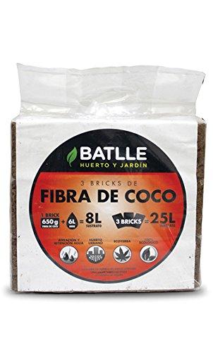 Batlle 960090pic Lot de 3 Briques de Fibre de Coco 650 g chacune