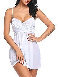ADOME Mujer Lencería Sexy Babydoll Pijamas Camisones Encaje con Cordón