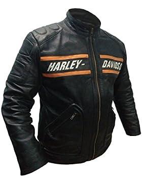 Leatherly Chaqueta de hombre Bill Goldberg negro Motociclista Estilo moto chaqueta de cuero