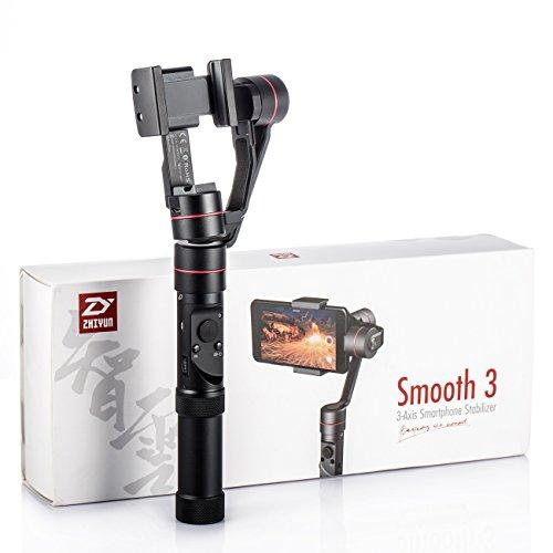 Zhiyun Smooth 3 Stabilizzatore Gimbal Zhiyun per Smartphone Andrioid e Iphone con dimensione minore uguale a 6 pollici con peso 70-260g, Messa a fuoco ad alta precesione, V generazione di algoritmo honeycomb