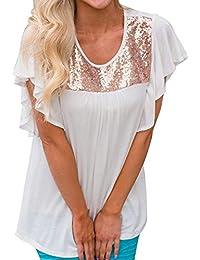Blusas Elegantes Moda Mujer Shirt Verano Lentejuelas Manga Corta Túnica Cuello Redondo Plisado Festiva Camicia Bluse