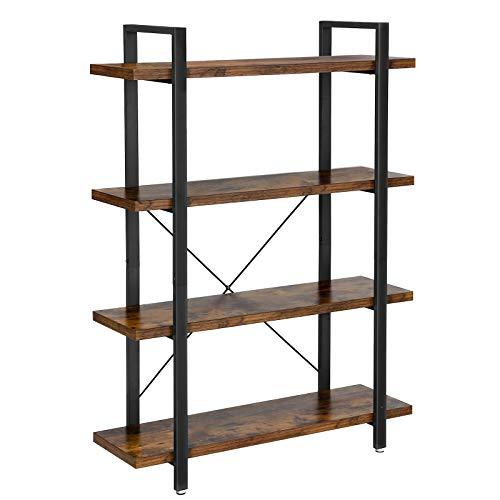 VASAGLE Bücherregal, stabiles Standregal mit 4 Regalebenen, Wohnzimmerregal im Industrie-Design, einfacher Aufbau, Wohnzimmer, Schlafzimmer, Büro, Vintage LLS54BX -