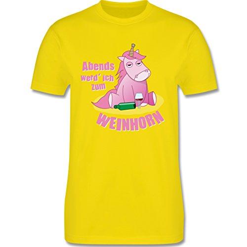 Shirtracer Einhörner - Abends Werd' Ich Zum Weinhorn - Herren T-Shirt Rundhals Lemon Gelb