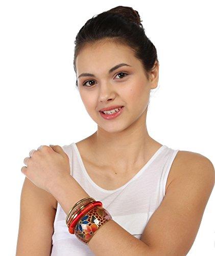 LUISIDO Damen Armreifen Set Rot Blumen Afrika Indien Design Indischer Stil Boheme (Indische Armreifen Rot)