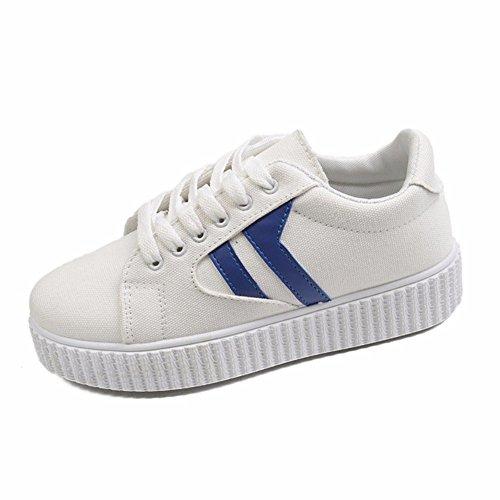 HOMEE Damen 'S Freizeitschuhe Canvas Strap Flache Fitness Schuhe,36 Eu,Blau (Keile Leder Canvas)