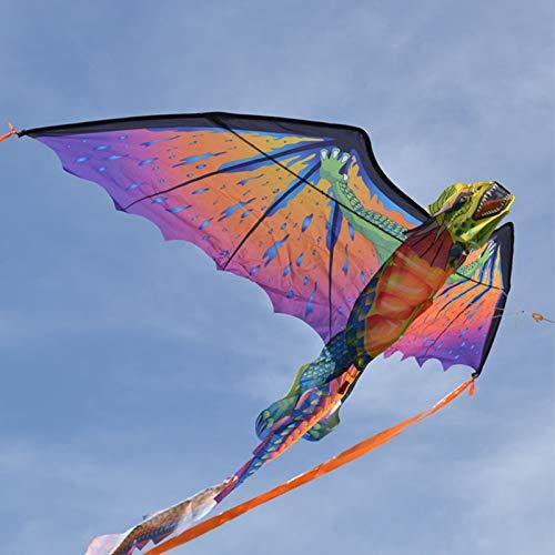 FEN Cometa de Juguete para niños Dragón Creativo Dragón Volador con Cola Larga Deportes al Aire Libre Cometa voladora para Adultos,Azul