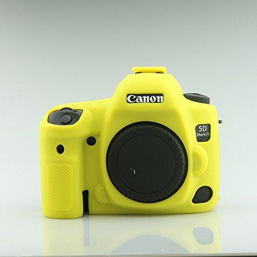 Weich Silikon Gummi Kamera Schutz Tasche Schale Case Abdeckung für Nikon EOS 5D Mark IV 5D45D IV Digital Kamera Gelb Zoom + Focuw
