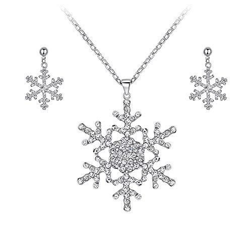 EVER FAITH® österreichisches Kristall Elegant Schneeflocke Blume Halskette mit Ohrring Schmuck-Set Silber-Ton ()