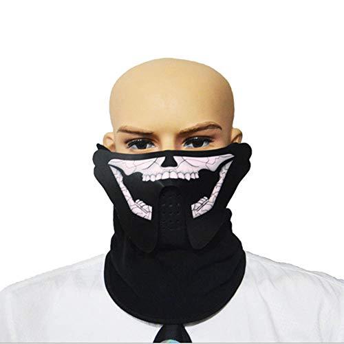 ZTXY Halloween Kaltlicht Maske Musik Sprachsteuerung Gesichtsschutz EL leuchtende Geschenke für Weihnachtsfeier KTV 15.12.8cm
