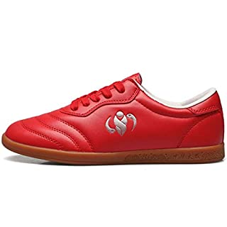 CAI&HONG-Domestics GCH Leather Tai Chi Shoes Men and Women Martial Arts Shoes Beef Bottom, 38, C