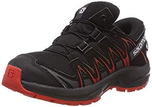 Salomon Kinder XA Pro 3D CSWP J, Trailrunning-Schuhe, Wasserdicht, schwarz (black / black / high risk red), Größe 26