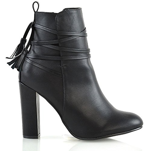 Essex Glam Femmes Heel Locking Bottes Dames Zipper Zipper Parti Cheville Bottes Noir En Cuir Synthétique