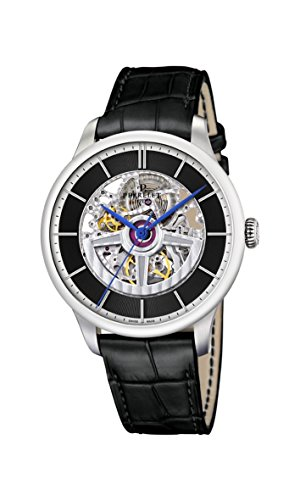 Perrelet First Class Double Rotor Skeleton Men's Automatic Watch with Black Dial Analogue Display and Black Leather Strap A1091/2