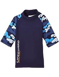 Smiling Shark Camouflage - Camiseta de natación para niño, color azul marino, talla 98-104