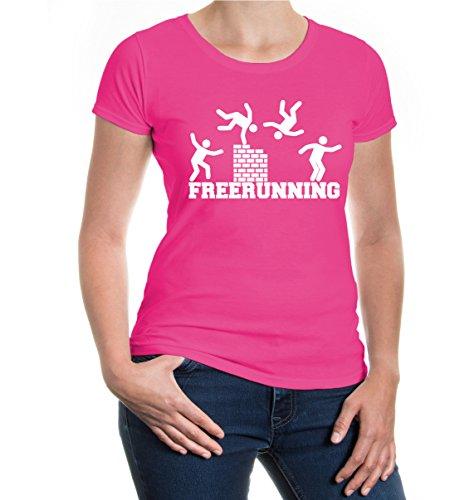 buXsbaum® Girlie T-Shirt Freerunning Fuchsia-White