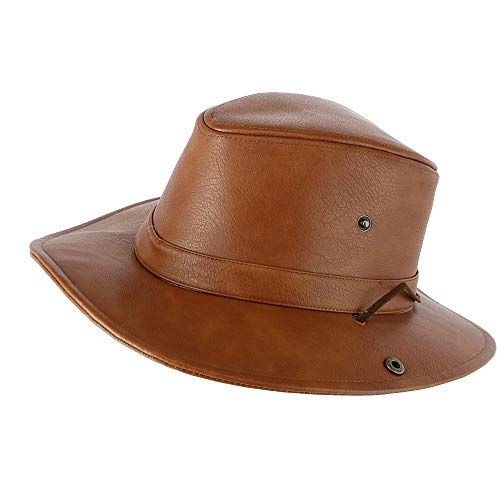 Epoch Hats Company Men s Faux Leather Safari Fedora with Chin Cord f128e94c9687