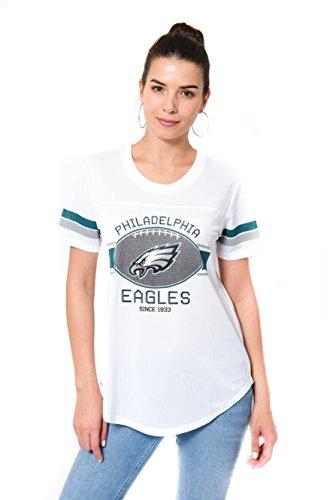 Icer Brands NFL Damen Jersey T-Shirt Mesh Varsity Stripe Short Sleeve Shirt, Team Logo weiß, Damen, JTL2219A-PE-XLarge, weiß, X-Large -