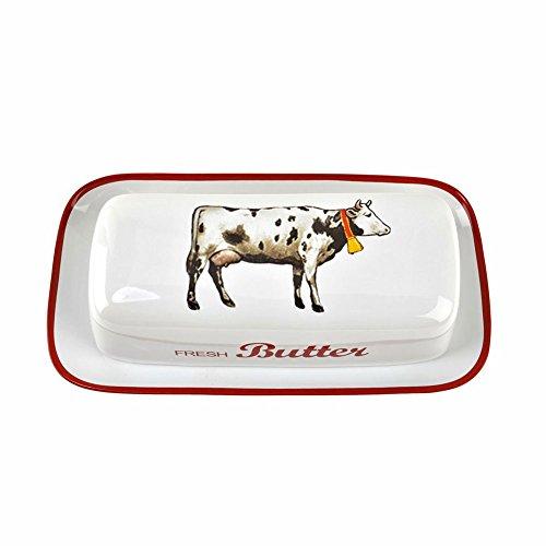 One Hundred 80 Degrees Urlaub auf Dem Bauernhof Kuh Butterdose 8.25' L weiß, Rot, Schwarz