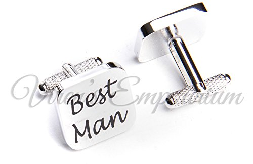 SQUARE SILVER mens wedding cufflinks cuff link Groom best man usher page gift 06 (BEST MAN)