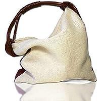 3a0f8b061d Borsa donna in juta e pelle colore marrone, original design, borse fatte a  mano