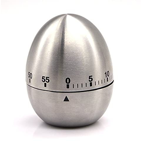 Mechanical Timer Count Up Countdown Timer Clock Stainless Steel Kitchen Timer Multi Function Egg Shape for Kitchen Cooking Baking Sports Office 360 Degree Rotating Loud Alarm in Silver