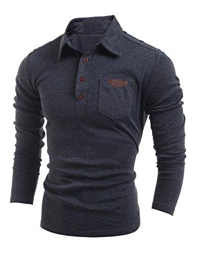YCHENG Maglia Manica Lunga Uomo Poloshirt Slim Fit Polo