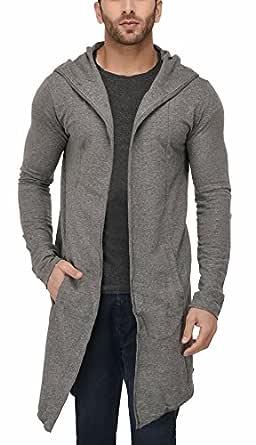 DENIMHOLIC Men's Cotton Blend Hooded Long Line Cardigan (Anthra, Medium)