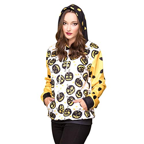 (Frauen Halloween Pumpkins 3D Druck Langarm Hoodie Sweatshirt Pullover Top-Halloween Kostüm Top-Jumper Oberteile Damen Sweatjacke Langarmshirts-Druck Top-Tunika Damenmode (Weiß,XL))