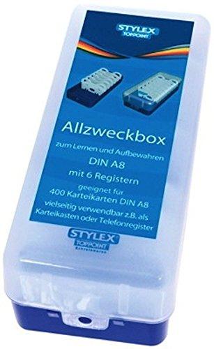 STYLEX® Karteikasten A8 Allzweckbox Lernbox für ca. 400, Farbe:blau