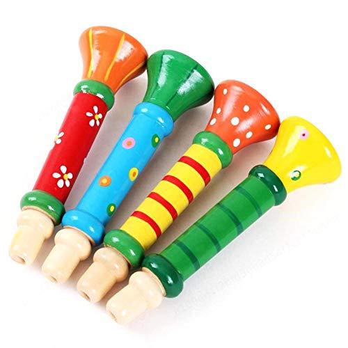 PRINDIY Trompete Instrumente Musik Spielzeug Multi-Color Baby Kinder aus Holz Horn Hooter Musikspielzeug (zufällig)