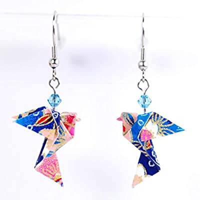 Boucles d'oreilles colombes origami verticales bleues et roses - crochets inox