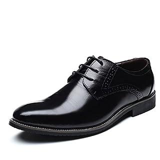 JOYTO Business Anzugschuhe Herren, Lederschuhe Schnürhalbschuhe Oxford Smoking Lackleder Brogue Schuhe Hochzeit Derby Leder Schwarz Braun 37-48 BK37