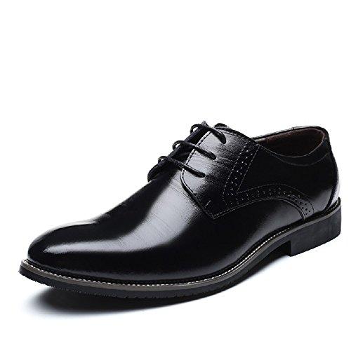 Zapatos Oxford Hombre, Brogue Cuero Boda Negocios Calzado Vestir Cordones Derby Negro Marron Azul Rojo...