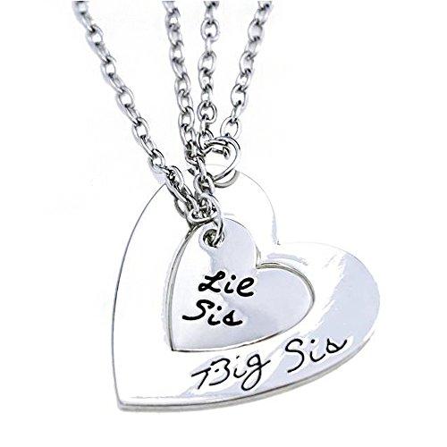 2-Little Big Sister staccabile argento a forma di cuore con pendente a forma di cuore spezzato Family Gift