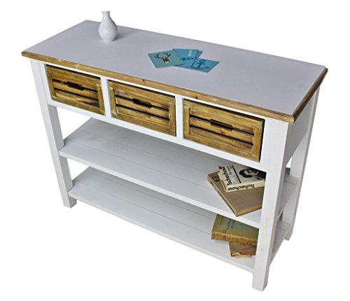 elbmöbel Anrichte Konsole Sideboard weiß braun antik Landhaus Küchentisch MDF Holz