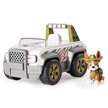 Paw Patrol : Jungle Rescue – Tracker's Pull Back Explorer – Figura et Vehículo Deluxe con efectos de sonido en Inglés de La Patrulla Canina en la Jungla
