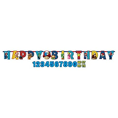Amscan 121554 1 m x 11 cm Super Mario Happy Birthday Lettre Bannière
