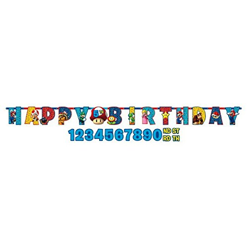 Amscan 121554 1 m x 11 cm Super Mario Happy Birthday Letter Banner