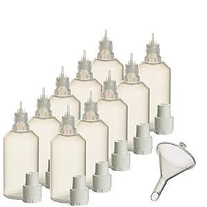 10 x 100 ml Liquidflaschen mit Füll-Trichter für E-Liquids E-Zigaretten e-shisha Plastik-flasche Dosier-flasche Spritz-flasche Leer-flasche Tropf-flasche Quetsch-flasche Nadel-flasche PP