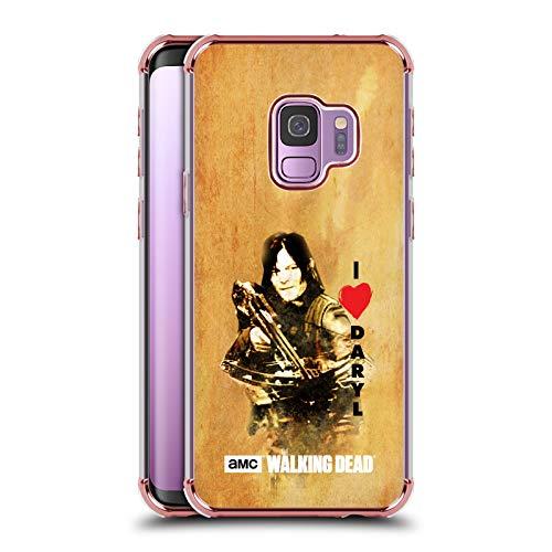 Head Case Designs Offizielle AMC The Walking Dead Daryl Armbrust Typografie Rose Schocksicheres Schutzblech Hülle für Samsung Galaxy S9