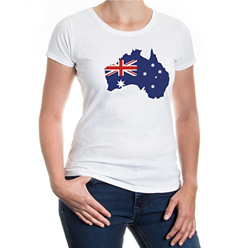 e T-Shirt Australien Shape | Australia Australie Ozeanien | Ländershirt Fanshirt Karte | M, Weiß (Kostüme Für Männer In Australien)