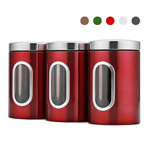 Blusea 3 Stück Vorratsdose Lebensmittel Aufbewahrungsbehälter Edelstahl Vorratsbehälter mit Deckel und Transparentem Sichtfenster für Tee, Getreide, Trockenfrüchten, Tiernahrung 1.5L (Rot)