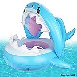 Weokeey Baby Schwimmring Baby Schwimmhilfe Baby Pool Schwimmring mit Sonnenschutz - Aufblasbarer Schwimmreifen für Kinder ab 9 Monaten bis 36 Monaten (Blue)