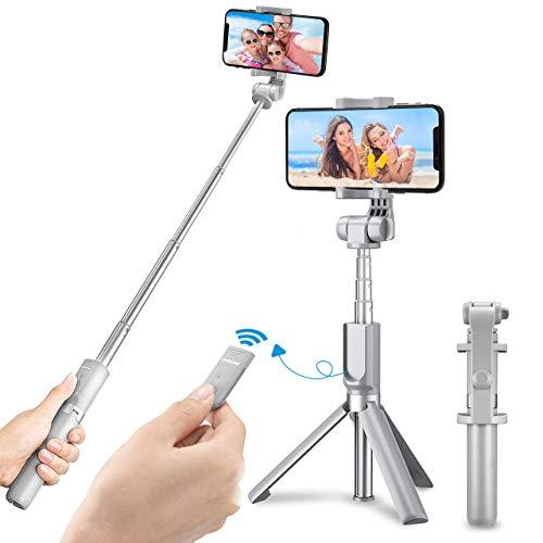 【Version Gris】 Mpow Perche Selfie Trépied Bluetooth Télécommande 360° Selfie Stick 2 en 1 Monopode pour L'iphoneSeries, GalaxySeries,OnePlus 6/5t, Huawei, Smartphone Android etc.