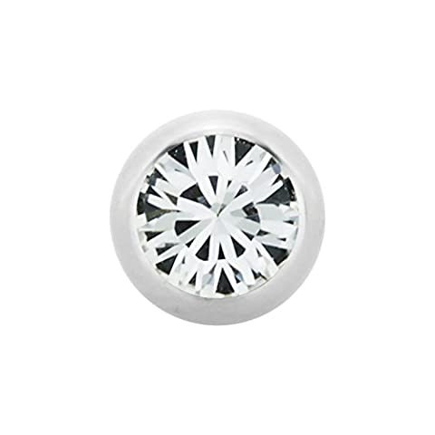 Vis 2.5mm CC Crystal Clear / Crystal Clear billes en acier Cristal SWAROVSKI Supernova Concept (perçage vis balle fixation pour fers à cheval, bars, Labrets etc.)