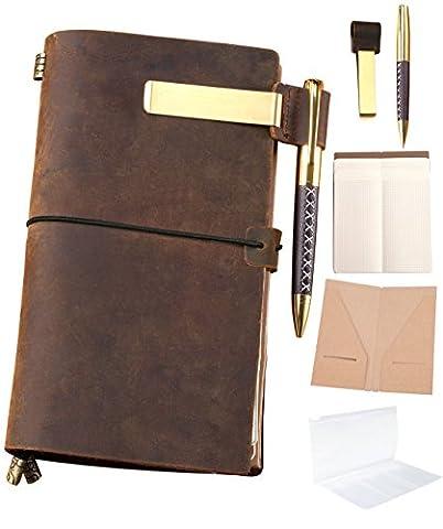 Nachfüllbar Leder Tagebuch nachfüllbar Reisende Notebook Amazing Bundle Vintage Antik Echt Leder Travel Diary + Pen + Stiftetui + Clip + Reißverschluss + Karte Tasche + 3Papiere Notizen Skizzieren Zeichnen 8.5