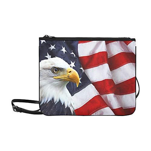 American Eagle Handtasche (WYYWCY American Symbol Eagle Mit Usa Flaggen Muster Benutzerdefinierte hochwertige Nylon Schlanke Handtasche Umhängetasche Umhängetasche)