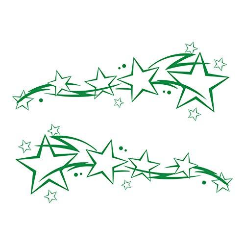 kleb-Drauf® | 2 Sternenschweife | Grün - glänzend | Autoaufkleber Autosticker Decal Aufkleber Sticker | Auto Car Motorrad Fahrrad Roller Bike | Deko Tuning Stickerbomb Styling Wrapping